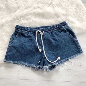 Aerie Chambray Denim Casual Lounge Shorts Sz S
